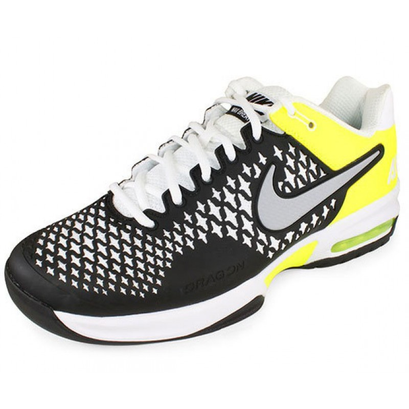 nike air max cage s tennis shoes black volt review