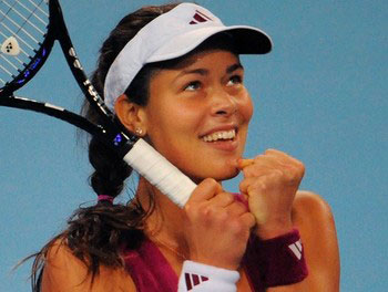 Ana Ivanovic of Serbia reacts after winn