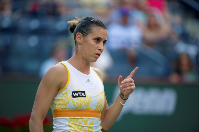 Flavia Pennetta reacts after winning a point against Petra Kvitova during  their US Open quarterfinal match on Sept. 9, 2015, in New York City.