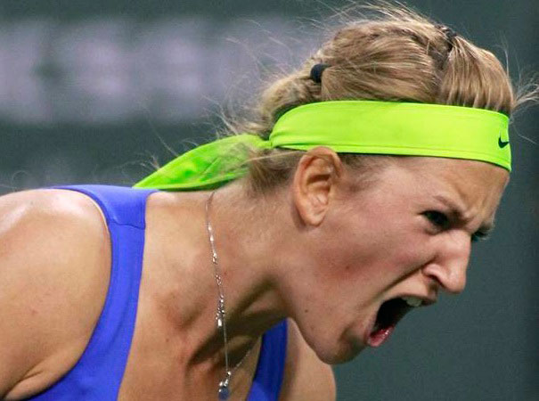 Victoria Azarenka of Belarus celebrates winning a point in the third set tie breaker against Mona Barthel of Germany during their match at the Indian Wells WTA tennis tournament in Indian Wells, California