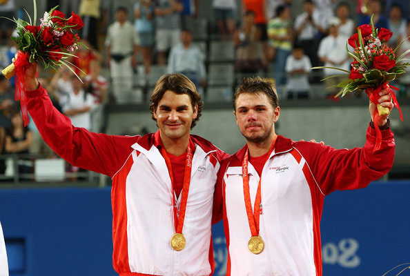 federer and wawrinka flag