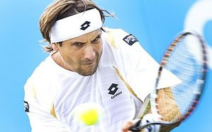 Spanish tennis player David Ferrer plays