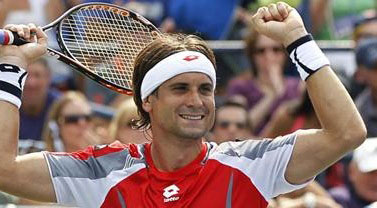 Ferrer of Spain celebrates after defeating Hewitt of Australia in their men's singles match at the U.S. Open tennis tournament in New York