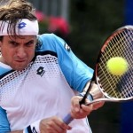 Spanish David Ferrer hits a return durin