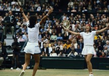 Navratilova and Shriver Celebrating Doubles Win