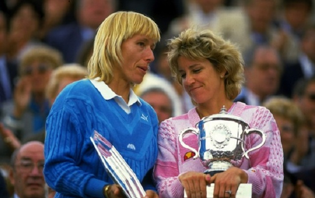 May-Jun 1986:  Martina Navratilova (left) of the USA chats with Chris Evert also of the USA as they hold their respective trophies after the Womens Singles final during the French Open at Roland Garros in Paris.  Mandatory Credit: Allsport UK /Allsport