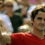 Roger Federer of Switzerland (3) celebra