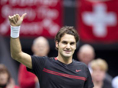 Roger Federer of Switzerland reacts after a matchpoint against Nikolay Davydenko of Russia during their semi final men's singles tennis match in Rotterdam