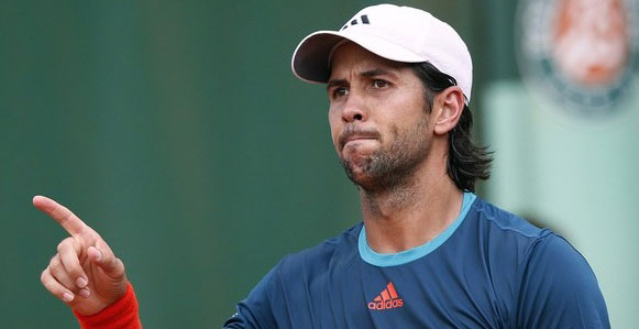 Spain's Fernando Verdasco gestures durin